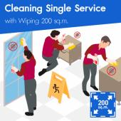 Cleaning (Single Service) and Disinfection Wiping 200 sq.m
