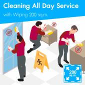 Cleaning (All day Service) and Disinfection Wiping  200 sq.m